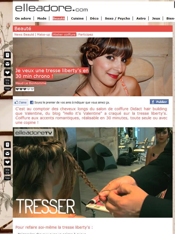 elleadore.com teasing video coiffure tresse Valentine