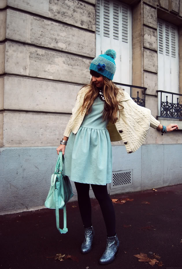 Ice mint dress imp hat streetstyle