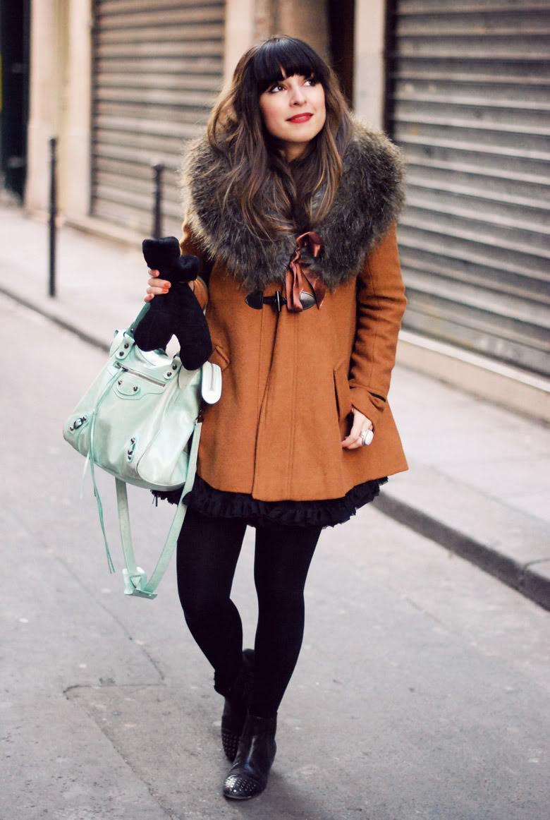 Streetstyle fake fur collar