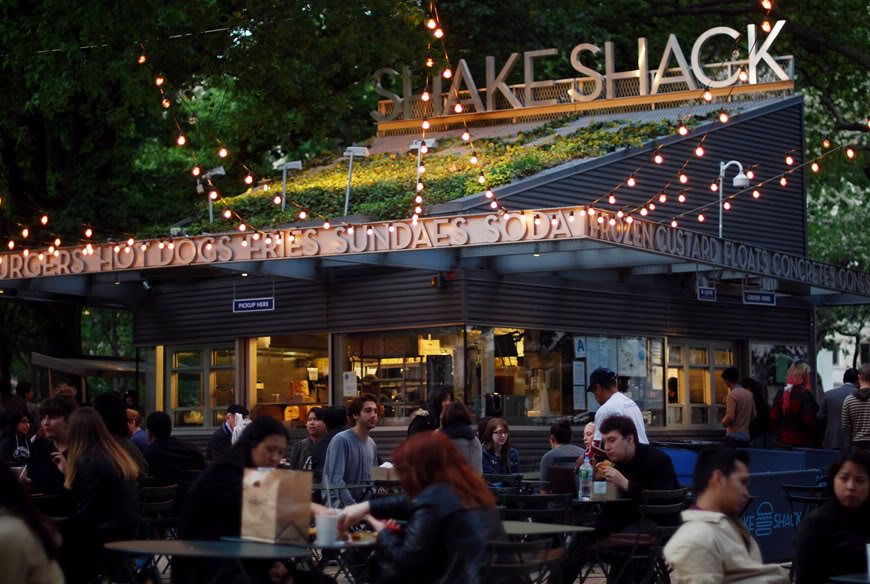 New York sunset Shake Shack