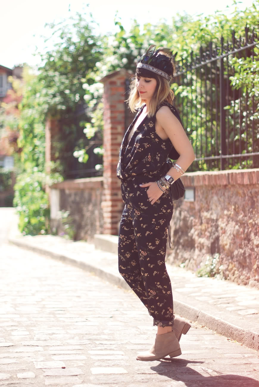Feather streetstyle jumpsuit Topshop Valentine feathers headban H&M