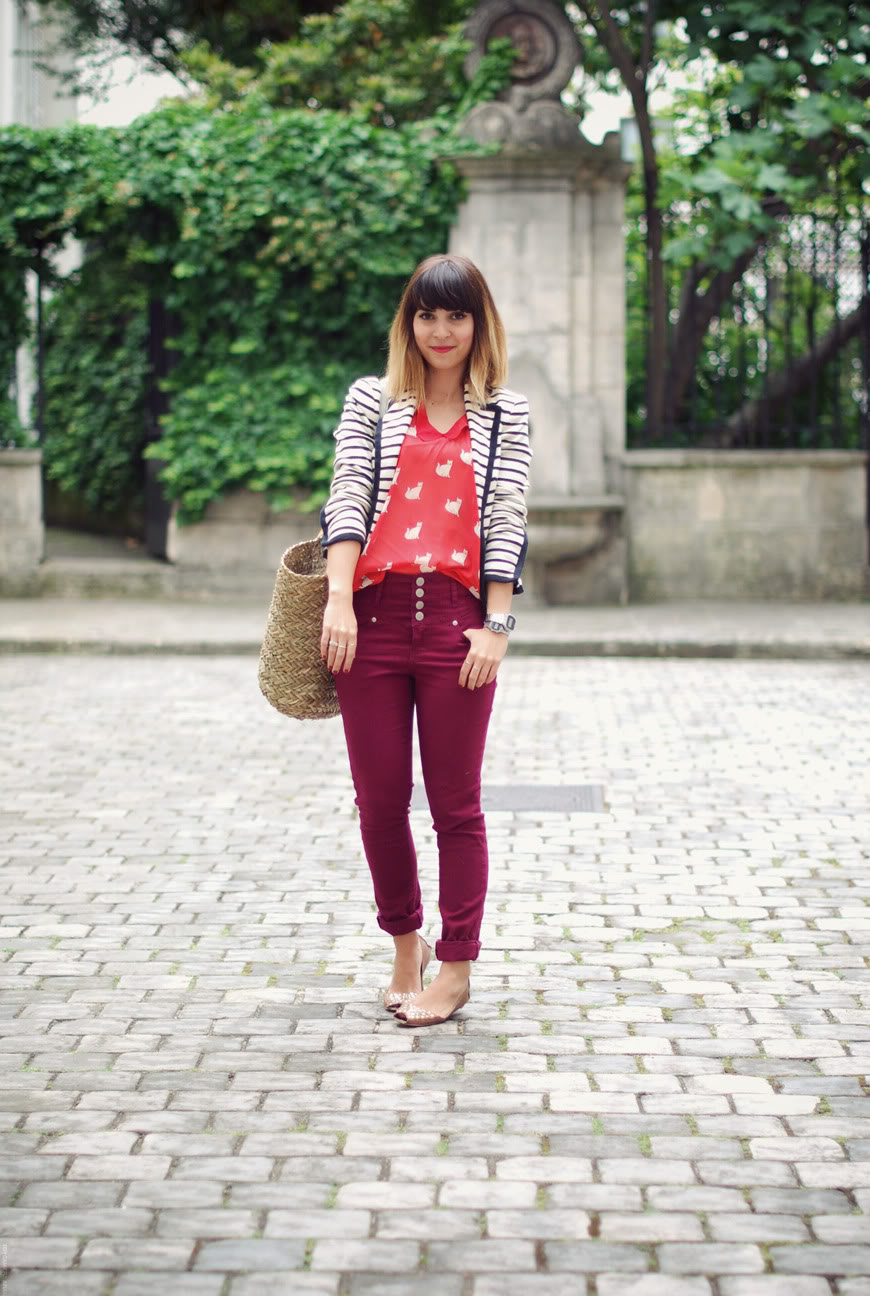 The red cat printed top Zara cats streetstyle Paris