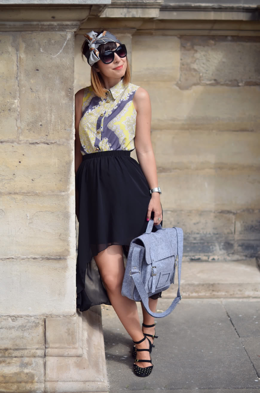 Waterfalls Paris Louvre streetstyle Valentine Chicwish skirt and satchel scarf