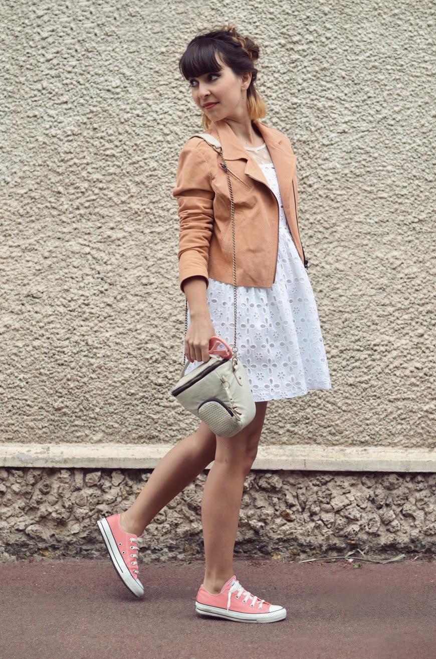 Ice cream streetstyle dress Oliveclothing Converse All Star braid