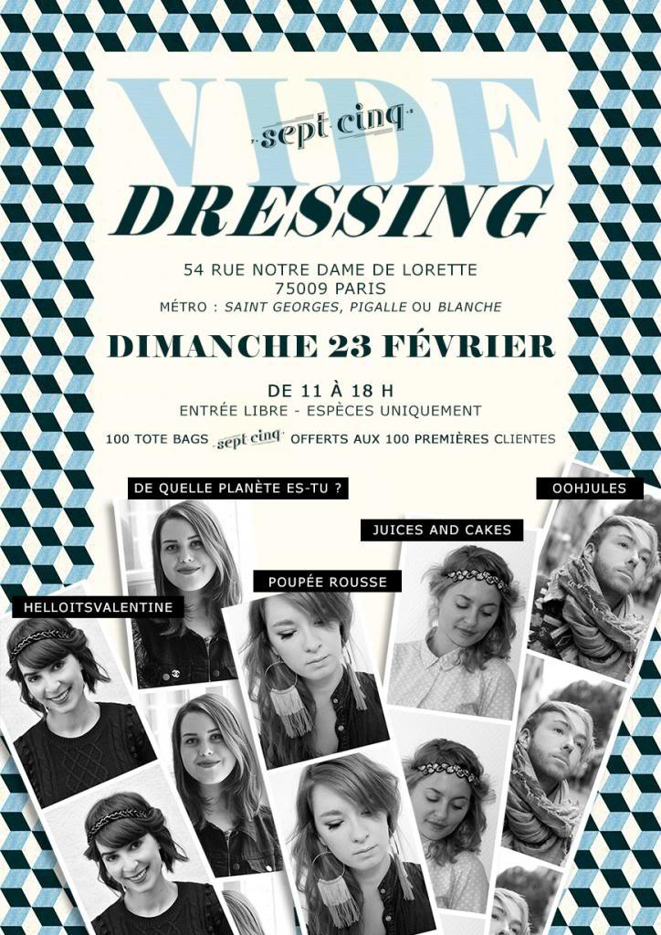 flyer affiche visuel créa graphisme Vide Dressing blogueurs blogueuses Paris Helloitsvalentine le sept cinq concept store 23 fevrier 2014