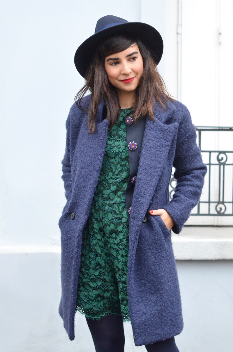 helloitsvalentine blogger parisien french hat fedora lace green blue Manoush Back To School jacket veste
