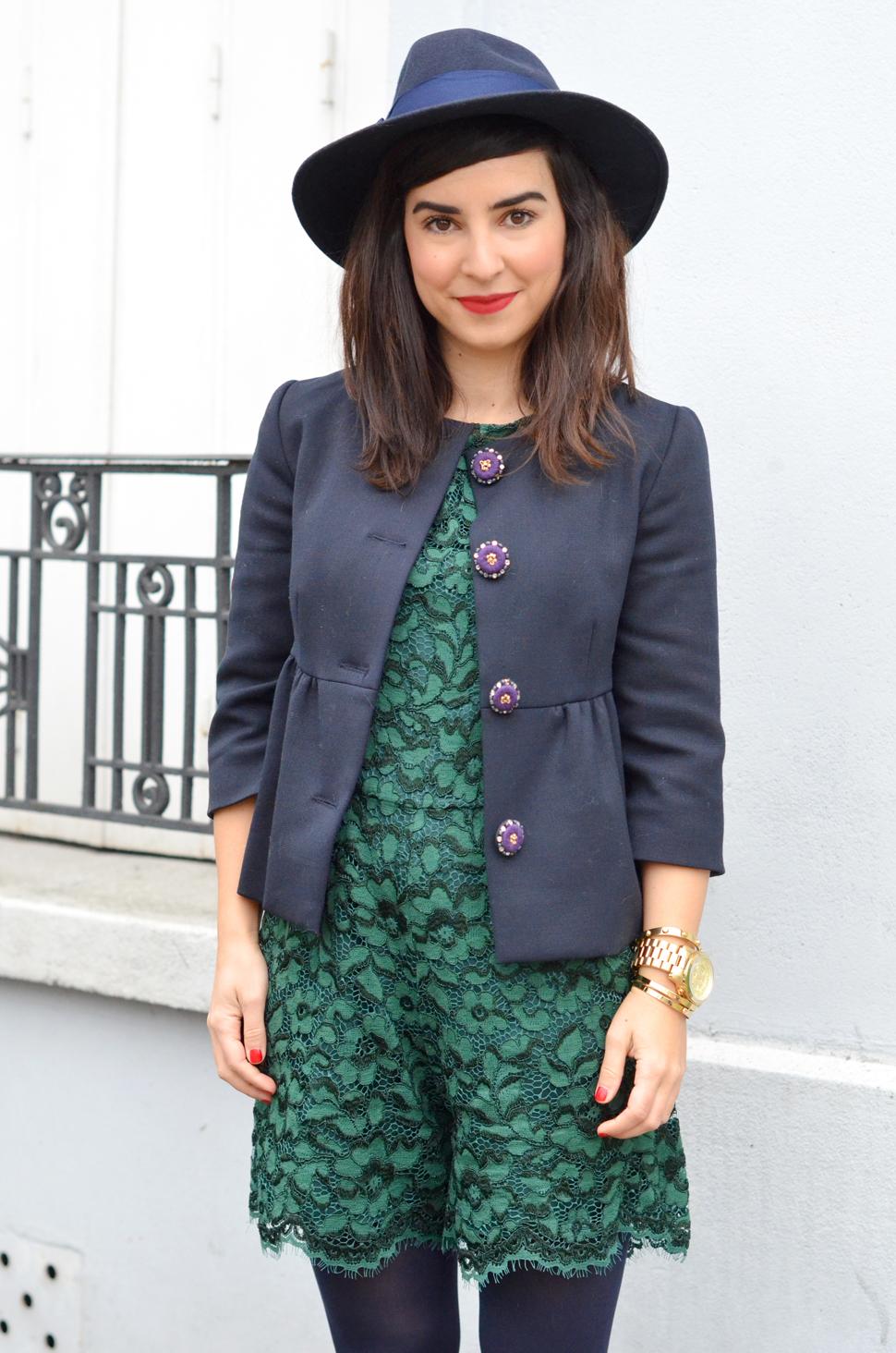 helloitsvalentine blogger parisien french hat fedora lace green blue Manoush Back To School jacket veste