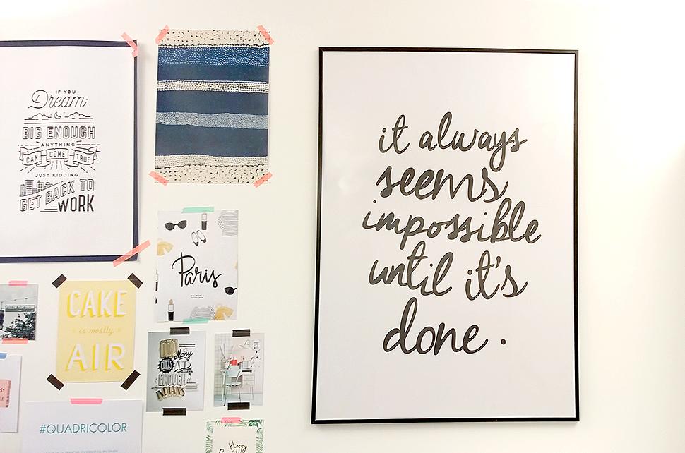 My Little Paris office bureaux wall accumulation wording quotes deco Hello it's Valentine